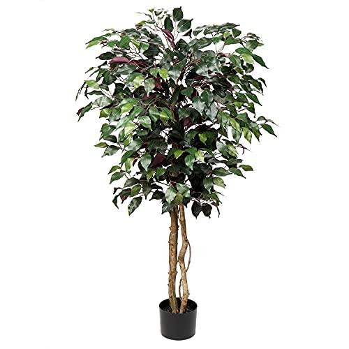 Briful Kunstbaum Ficus Benjamini Künstliche Pflanze Baum Kunstpflanze Groß mit Echtholzstamm Ideal für die Innendekoration Grün Rot