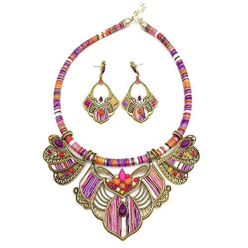 COSYOO Ethnic Jewelry Set Bohemian Style Jewelry Set Fashion Boho Jewelry Set Bib Choker Necklace