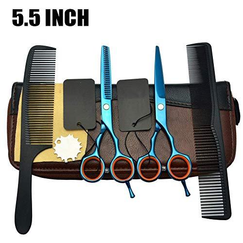 Ciseaux Coiffure, 5,5 Pouces Bleu Acier Inoxydable Ciseaux de Cheveux Ciseaux Polyvalents pour Salon/Famille Ciseaux de Coiffure Trousse