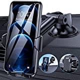 Procoda Phone Car Holder, Universal Car Phone Holder Mount with Suction Pad and Air Vent Clip for Dash, Windshield and Air Vent Compatible with iPhone (Black) (Black)