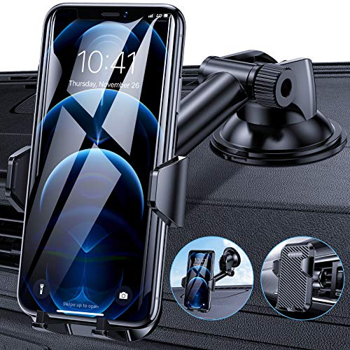 Procoda Phone Car Holder, Universal Car Phone Holder Mount with Suction Pad and Air Vent Clip for Dash, Windshield and Air Vent Compatible with iPhone