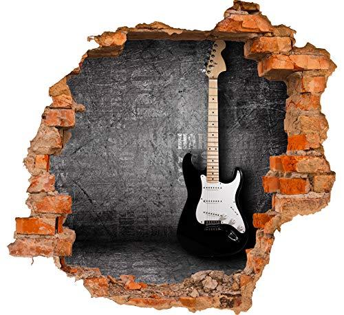 wandmotiv24 3D-Wandsticker E-Gitarre Design 02 - mittel Aufkleber Mauerdurchbruch M0466