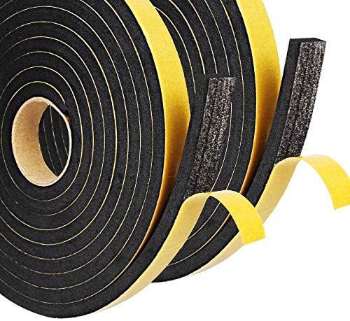 Dichtungsband für Türen 12mm(B) x 6mm(D) selbstklebendes Schaumstoffband Türdichtung Fenste, Gummidichtung für Kollision Siegel Schalldämmung Gesamtlänge 10m (2 Rollen je 5m lang) schwarz