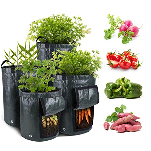 4Pack Potato Grow Bags Sturdy PE Planting Pots Garden Containers Planters for Vegetables with Handles Drain Hole amp Large Harvest Window 35710 Set