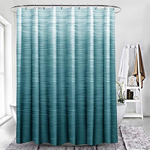 Duschvorhang, strapazierfähig, wasserdicht, mit 12 Haken, für Badezimmer, Duschen, Badewannen, 177,8 x 177,8 cm, Cyan