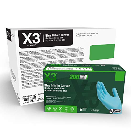 X3 Industrial Blue Nitrile Gloves, Case of 2000, 3 Mil, Size Large, Latex Free, Powder Free, Textured, Disposable, Non-Sterile, Food Safe, X3D46100