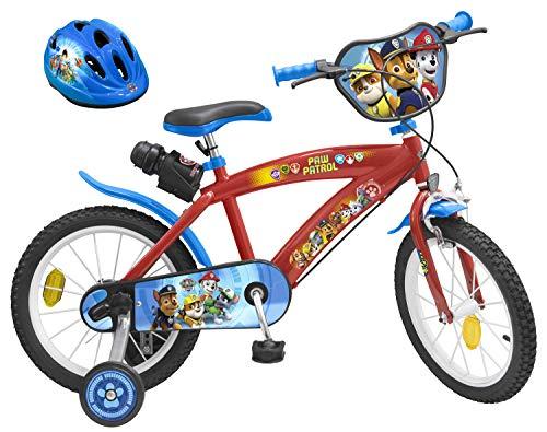 PAW PATROL Kinderfahrrad 16 Zoll + Fahrradhelm Gr. 52-56 cm | Felgenbremse Trommelbremse Trinkflasche