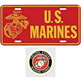 Marine Corps License Plate Bundle with Marine Corps Decal(Eagle Globe and Anchor Logo)
