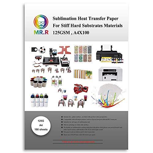 Papel de transferencia de calor de la sublimación para materiales duros rígidos 125G de los sustratos