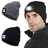 Tutuko Unisex LED Beanie Hat with Light (2 Pack), Gifts for Men Dad Husband Him Women, USB Rechargeable Hands Free 4 LED Headlamp Cap, Warm Winter Knitted Hat with LED Flashlight