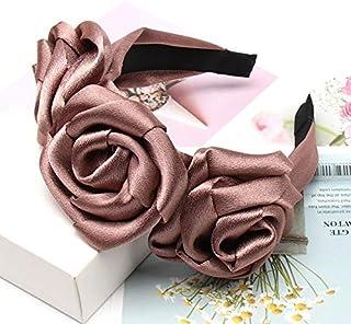 YJXUSHYQ Fashion Rose Flower Satin Headband for Women Wedding Elegant Hairband Women Hair Accessories (Color : Coffee, Siz...