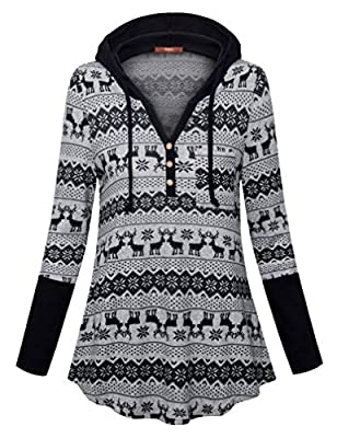 Gaharu Women's Long Sleeve Color Block Casual Pullover Hoodies Sweatshirt with Kangaroo Pocket