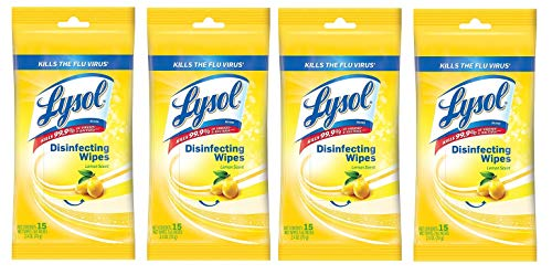Lysol Disinfecting Wipes Lemon Scent 15ct in Resealable Travel Pouch (4 Pack)