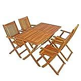 IHD Akazienholz Gartensitzgruppe 5tlg Gartentisch mit 4 Gartenstühlen klappbar - 7