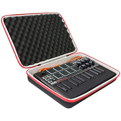 co2CREA Duro Viajar caja estuche funda para AKAI Professional MPK Mini MK3 / MPK Mini Play Teclado controlador MIDI USB (solo caso) (estuche negro + cremallera roja)