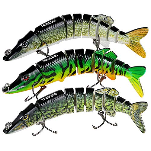 "TRUSCEND Fishing Bass Lures 4.9"" Multi Jointed Topwater Life-Like Trout Swimbait Hard CrankBaits (A-Pike-Combo-1)"