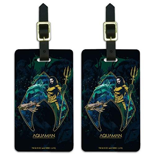 Aquaman Movie Atlantis Logo Luggage ID Tags Suitcase Carry-On Cards - Set of 2