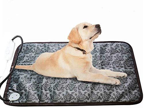 Almohadilla térmica XXL para perro grande cama de perro, almohadilla de calefacción eléctrica para interior impermeable, ajustable con cable largo resistente a la masticación (gris)