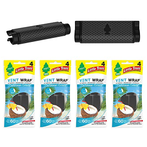 Little Trees Car Air Freshener | Vent Wrap Provides Long-Lasting Scent, Invisibly Fresh! | Caribbean Colada, 4-Packs (4 Count)