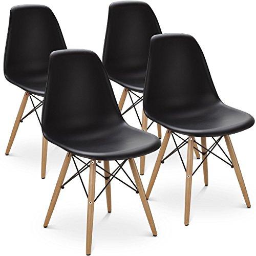 MeillAcc Satz von 4 modernen Stil Esszimmerstuhl Mitte des Jahrhunderts weiß Moderne Stuhl Shell Lounge Kunststoff Stuhl für Küche Esszimmer Wohnzimmer Seitenstühle (Schwarz)