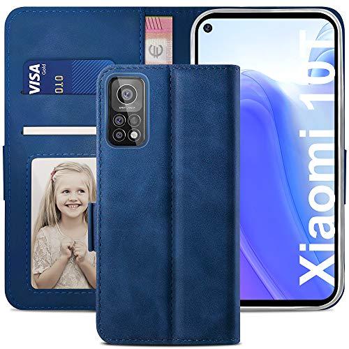 YATWIN Handyhülle Xiaomi Mi 10T 5G Hülle, Klapphülle Xiaomi Mi 10T Pro 5G Premium Leder Brieftasche Schutzhülle [Kartenfach] [Magnet] [Stand] Handytasche Hülle für Xiaomi 10T/10T Pro, Blau
