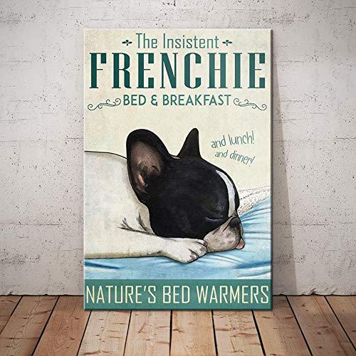 BabyElephant French Bulldog Bedroom Poster Wall Art Dog Poster for Bathroom Home Living Decor Poster