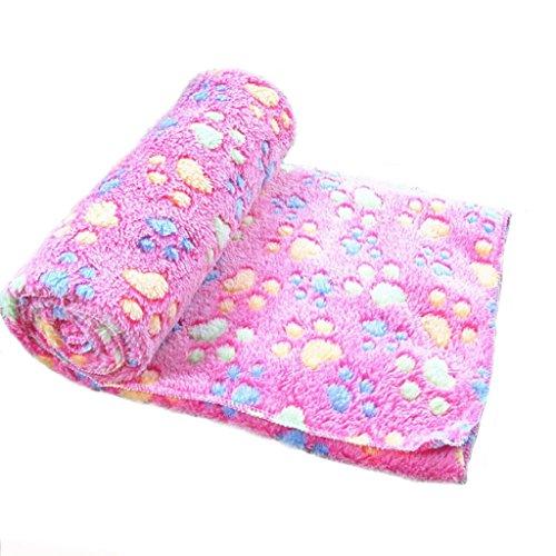 Ularma Pata pequeña impresión paño grueso y suave manta suave estera del animal doméstico (60 X 40 CM, rosa)