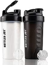 Bottledjoy Clear Protein Shaker Bottle 24oz [BPA Free, Leak Proof] Shake Water Bottles 2 Pack