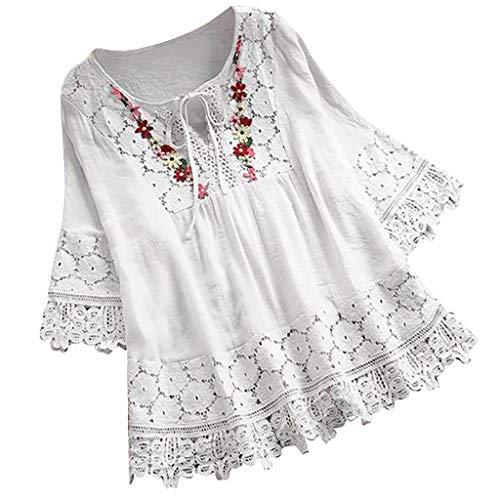 Lazzboy Frauen Weinlese Spitze Patchwork Bogen V-Ausschnitt DREI Viertel Blusen Top T-Shirt Damen Bohemian Stickerei Floral Tunika Shirt Bluse(Weiß,2XL)