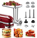 Metal Food Grinder Attachment for KitchenAid Stand Mixers Included 3 Sausage Stuffer Tubes & Kubbe Meat Processor Accessories