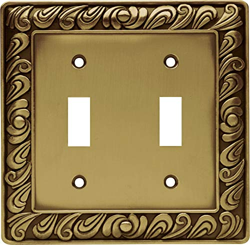 Franklin Brass 64040 Paisley Double Toggle Switch Wall Plate/Switch Plate/Cover, Tumbled Antique Brass