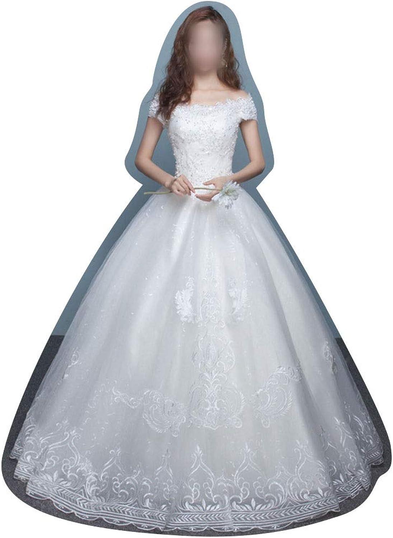 Vfdsvbdv Wedding Dress White VCollar Shows Thin (Size   M)