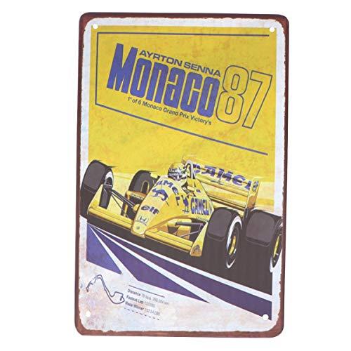 Wakauto 1 Stück Metallwand Zeichen Rennen Metall Ort Monaco Restaurant Ayrton Senna Formel Rennkneipe 1987 Eisenplatte Pad Dekoration Metall Stück Brett