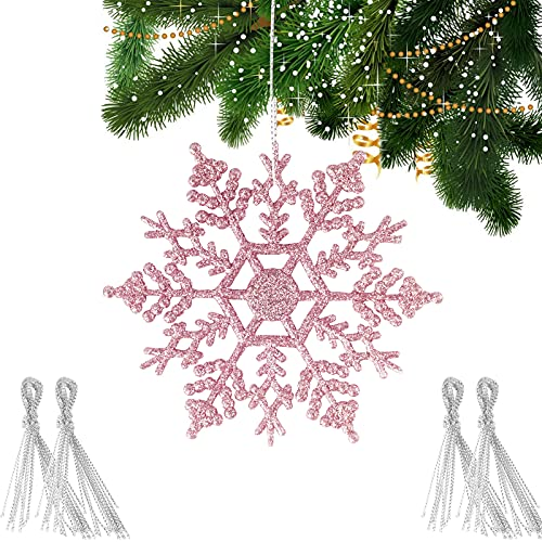 decorazioni natalizie eleganti BETESSIN 24pz Fiocchi di Neve Glitter Rosa Decorativi per Albero di Natale Confetti Decorazione Natalizie Fiocco di Neve Artificiale Plastica Ciondoli Pendenti Ornamenti Appendere