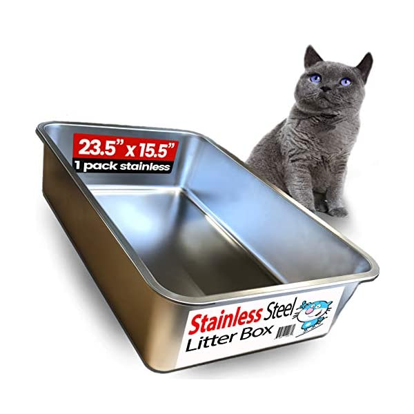 iPrimio Ultimate Stainless Steel Cat XL Litter Box – Never Absorbs Odor, Stains, or Rusts – No Residue Build Up – Easy Cleaning Litterbox Designed by Cat Owners (1 Pan)