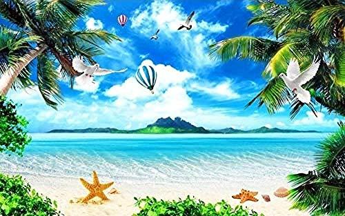 ZZXIAO Pared Pintado Papel tapiz 3D Coconut Tree Flying Bird Sea Landscape l baño l dormitorio Sala de estar la cocina Decoración Fotográfico Fotomural sala sofá pared mural-200cm×140cm