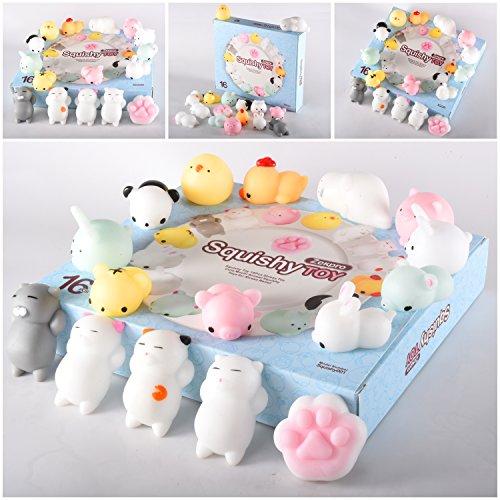 Zekpro Kawaii Squishy Spielzeug Kuscheltiere: 16er Pack Tierfiguren zum Quetschen mit verschieden Tiermotiven - Katze, Panda, Schwein, Hase - Schadstofffreies Kinderspielzeug für Jungen & Mädchen