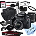 Canon EOS Rebel T100 DSLR Camera with 18-55mm f/3.5-5.6 Zoom Lens + 32GB Card, Tripod, Case, and More (18pc Bundle) by Al's Variety-Canon Intl