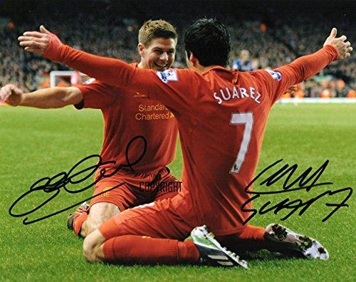 Fotodruck von Steven Gerrard Luis Suarez, mit vorgedrucktem Autogramm, limitierte Edition