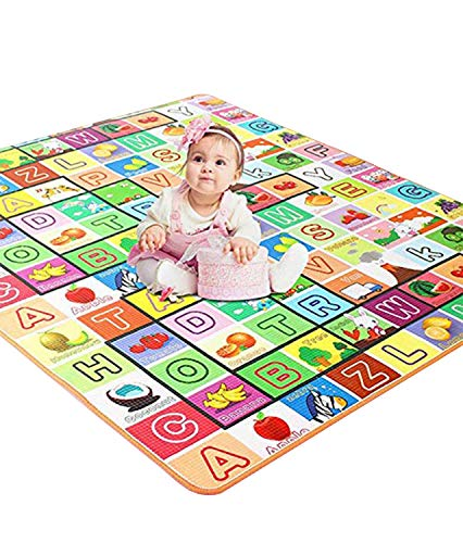 AYSIS Double Sided Water Proof Baby Carpet Mat Crawling Play Mat Carpet Baby Gym Water Resistant (Extra Large Biggest Size - 6.5 Feet X 6 Feet, Assorted Colour) Playmat for Babies