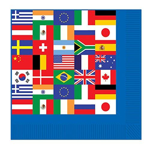 Beistle Getränkeservietten, Internationale Flaggen, Papier, Blue, White, Red, Black, Green, 6.5