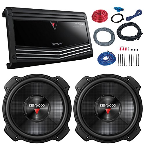 Car Sub and Amp Combo: 2X Kenwood KFC-W3016PS 2000 Watt 12' 4 ohm Subwoofer Bundle Combo with KAC-9106D Class D Monoblock 2000-Watt Car Audio Amplifier + 8-Gauge Amp Installation Kit