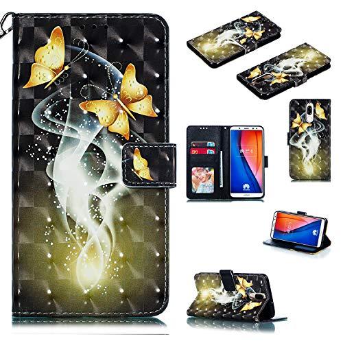 Nadoli Wallet Handyhülle für Huawei Mate 10 Lite,Kreative 3D Gold Schmetterling Muster Taljereep Ständer Flip Ledertasche Brieftasche Schutzhülle Etui für Huawei Mate 10 Lite