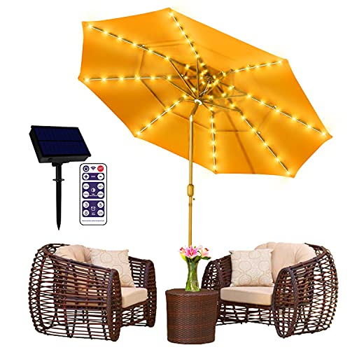 Solar Patio Umbrella Lights 8 Lighting Mode String Lights with Remote Control Umbrella Lights Solar Powered Waterproof Outdoor for Patio Umbrellas Outdoor Use Camping Tents Decoration Warm White