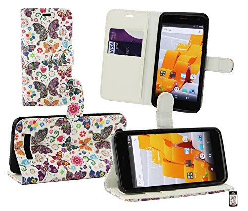Emartbuy® Wileyfox Spark Plus/Wileyfox Spark Wallet Etui Hülle Hülle Cover aus PU Leder mit Kreditkartenfächern - Schmetterlinge