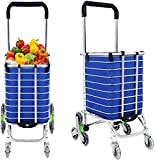 Jukkre Folding Shopping Cart Grocery Utility Lightweight Stair Climbing Cart with Rolling Swivel
