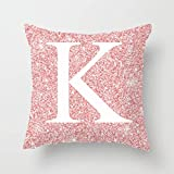 Winmany Car Sofa Throw Pillow Covers Sequin Letter Pink Pillow Case Cover Alphabet Pattern Cushion Case Decorative Pillowcases (K)