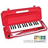 KC キョーリツ 鍵盤ハーモニカ メロディピアノ 32鍵 レッド P3001-32K/RD (ドレミ表記シール・クロス・お名前シール付き)