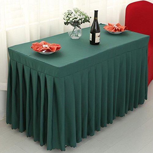 Nappes Fitted Table Skirt Cover Banquet de mariage avec topper Top Topper-Dark Green ( Couleur : Vert foncé , taille : 50*100*75CM )