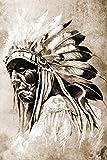 Poster selbstklebend | Indianer mit Federschmuck | in